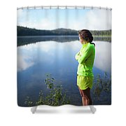 A Young Woman Looks Out Over Unna Lake Shower Curtain