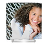 A Young Woman On A Hammock Shower Curtain