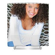 A Young Woman On A Hammock Oregon, Usa Shower Curtain