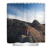 A Young Woman On A Narrow Ridge Shower Curtain