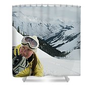 A Young Woman Radios Shower Curtain