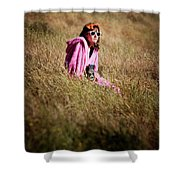 A Young Woman Sitting In A Field Shower Curtain