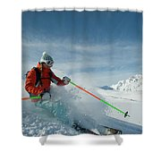 A Young Woman Skis The Backcountry Shower Curtain
