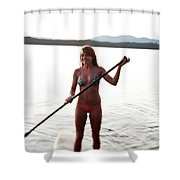 A Young Woman Smiles While Stand Shower Curtain