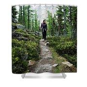 A Young Woman Walks Along An Sub-alpine Shower Curtain