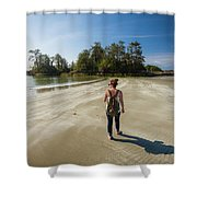 A Young Woman Walks Towards Frank Shower Curtain