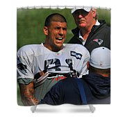 Aaron Hernandez With Patriots Coaches Shower Curtain