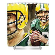 Aaron Rodgers Green Bay Packers Quarterback Artwork Shower Curtain