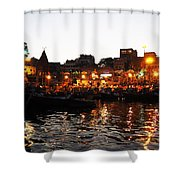 Aarti At Dashashwamedh Ghat 2 Shower Curtain