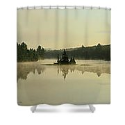 Abanakee Lake Sunrise Fog 180 Degree Shower Curtain