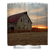 Abanded Barn At Sunset Shower Curtain