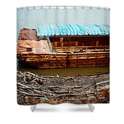 Abandoned Barge Shower Curtain