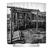 Abandoned Bird Observatory-bw Shower Curtain