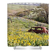 Abandoned Ford Buried In Wildflowers Shower Curtain