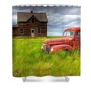 Abandoned Homestead House And Red Shower Curtain