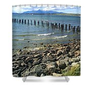 Abandoned Old Pier In Puerto Natales Chile Shower Curtain