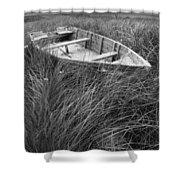 Abandoned Row Boat Along The Shoreline On Prince Edward Island Shower Curtain