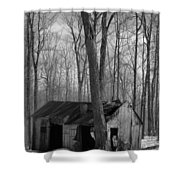 Abandoned Sugar Shack In Black And White Shower Curtain