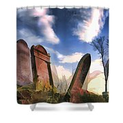 Abandoned Tombstones On The Prairie Shower Curtain