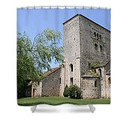Abbey Ruin - Burgundy Shower Curtain