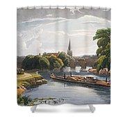 Abingdon Bridge And Church, Engraved Shower Curtain