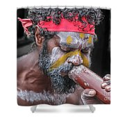 Aboriginal Playing Didgeridoo Shower Curtain