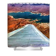 Above Lake Mead By Diana Sainz Shower Curtain