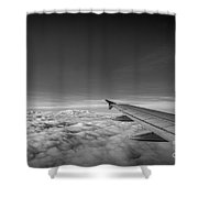 Above The Clouds Bw Shower Curtain