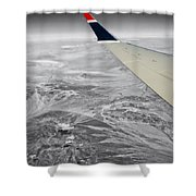 Above The Clouds Wing Tip View Sc Shower Curtain