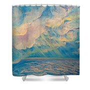 Above The Sun Splashed Clouds Shower Curtain