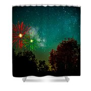 Above The Trees Below The Stars Celebration  Shower Curtain