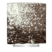 Above View Of Woman Swimming, Bw Shower Curtain