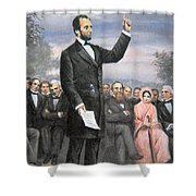 Abraham Lincoln Delivering The Gettysburg Address Shower Curtain by American School
