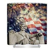 Abraham Lincoln Fireworks Shower Curtain