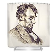 Abraham Lincoln Head Bowed  Drawing 1910 Shower Curtain