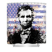 Abraham Lincoln Pop Art Splats Shower Curtain by Bekim Art