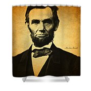 Abraham Lincoln Portrait And Signature Shower Curtain
