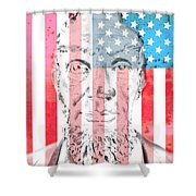 Abraham Lincoln Vintage American Flag Shower Curtain