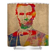 Abraham Lincoln Watercolor Portrait On Worn Distressed Canvas Shower Curtain by Design Turnpike