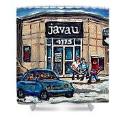 Montreal Art Exhibit At Java U Carole Spandau Montreal Street Scenes Paintings Hockey Art  Shower Curtain