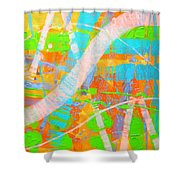 Abstract 23614  Diptych  II Shower Curtain