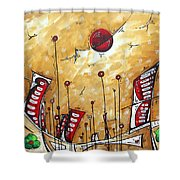 Abstract Art Cityscape Original Painting The Garden City By Madart Shower Curtain