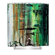 Abstract Art Colorful Original Painting Green Valley By Madart Shower Curtain