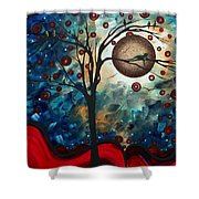 Abstract Art Contemporary Cat Bird Circle Of Life Collection Cat Perch By Madart Shower Curtain