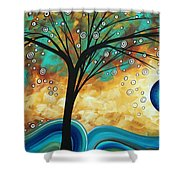 Abstract Art Contemporary Painting Summer Blooms By Madart Shower Curtain
