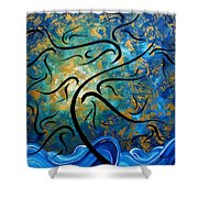 Abstract Art Gold Textured Original Tree Painting Peace And Desire By Madart Shower Curtain