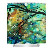Abstract Art Landscape Circles Painting A Secret Place 2 By Madart Shower Curtain