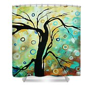 Abstract Art Landscape Circles Painting A Secret Place 3 By Madart Shower Curtain
