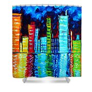 Abstract Art Landscape City Cityscape Textured Painting City Nights II By Madart Shower Curtain by Megan Duncanson
