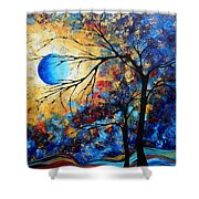 Abstract Art Landscape Metallic Gold Textured Painting Eye Of The Universe By Madart Shower Curtain